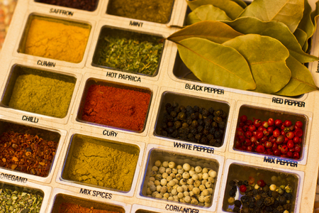 Mix spices in a wooden box