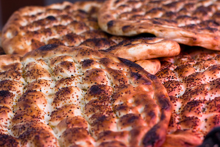 menue: Traditional baked pies and patties pita Stock Photo