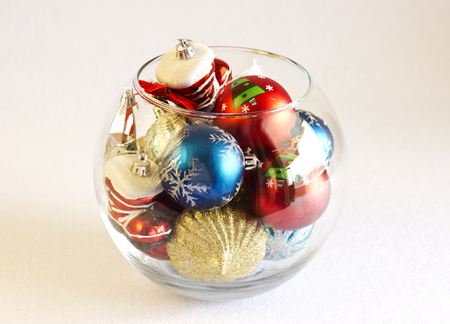 Christmas Tree Toys In The Round Glass Vase Stock Photo Picture And
