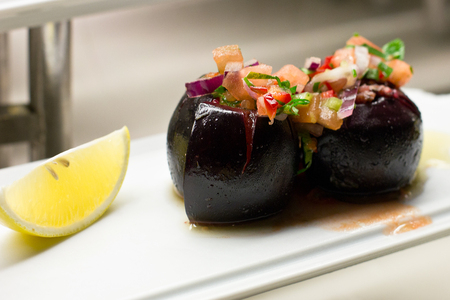 Beet Stuffed with Vegetables with Lemon Slice