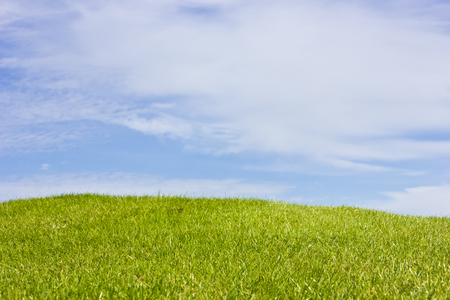 Golf course in Belek. Green grass on field. Blue sky, sunny day Stock Photo
