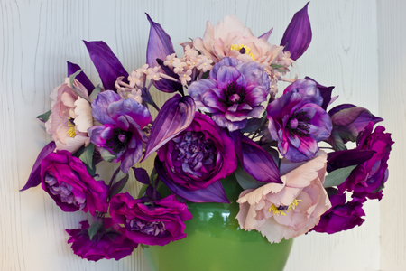 Bouquet of pink and purple peonies artificial flowers made of bouquet of pink and purple peonies artificial flowers made of silk in the black vase mightylinksfo