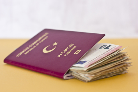 Foreign passports and money from the countries Foto de archivo