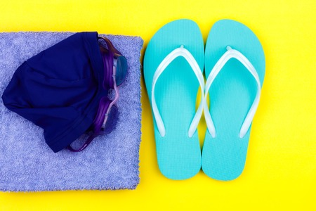 Swimming set - slippers, towel, goggles and swimming cap
