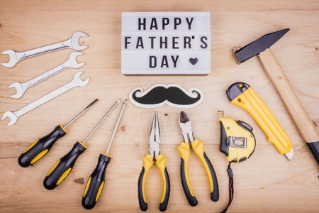 Repair tools - hammer, screwdrivers, adjustable wrenches, pliers. Male concept for a Fathers day Stok Fotoğraf