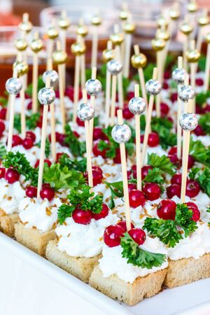 Canape with white cheese and red currants