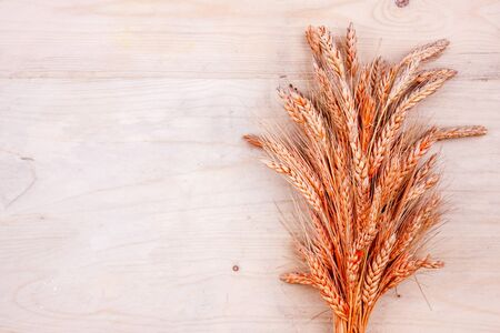 Dried bread spikes on wooden table. Autumn harvest of bread Stok Fotoğraf