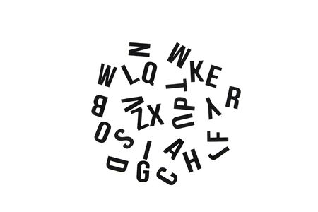 Mixed letters of English alphabet. Black letters isolated.
