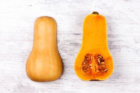 Pumpkin isolated on a white. Sweet Pear-shaped Orange color Pumpkin