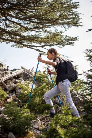 Young teenager girl with trekking poles and backpack in the forest. Mountain climbing