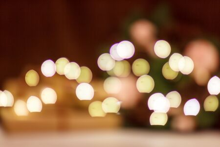 Bokeh from the christmas luminous garland. No focus