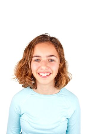 Pretty cute laughing teenager girl with the curly hair isolated