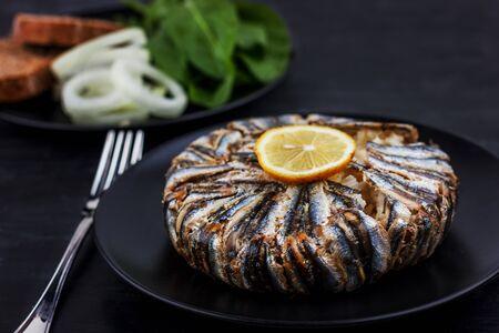 Pilaf with hamsi fish. Traditional Turkish food - Kapama Pilav Zdjęcie Seryjne