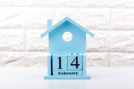 Valentines Day February 14. Blue calendar on white background Zdjęcie Seryjne