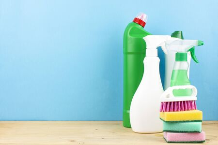 Cleaning tools. Set of cleaning supplies - Spray and cleaning agent.