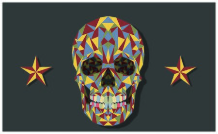 Colored mexican skull style with two stars