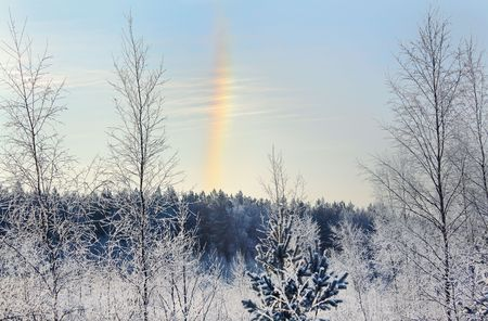 occurrence: Unusual occurrence a winter rainbow galo