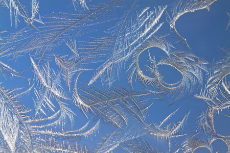 The abstract frosty pattern on glass photo