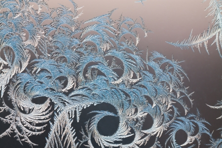 rime: abstract frosty pattern on glass Stock Photo