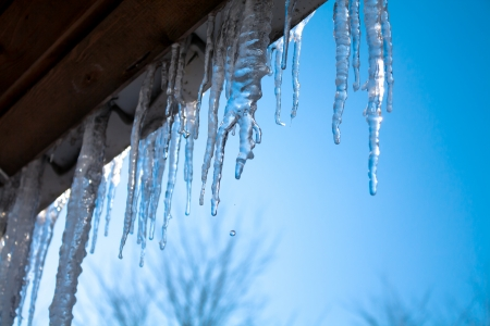 beautiful icicles glint in the sun against the blue sky