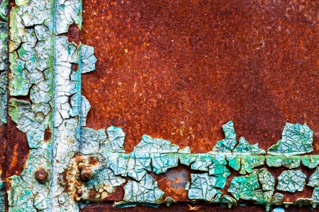 old abstract background from the cracked paint on rusty iron photo