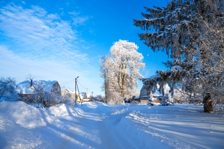 winter rural landscape with the road the forest and the village photo