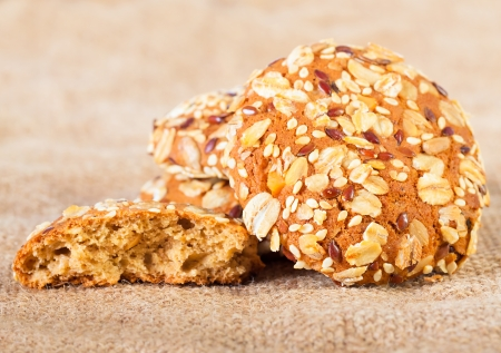homemade oatmeal cookies on baking with  nuts photo