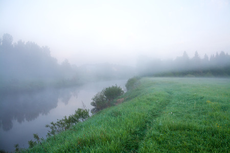 beautiful summer landscape with the river and fog photo