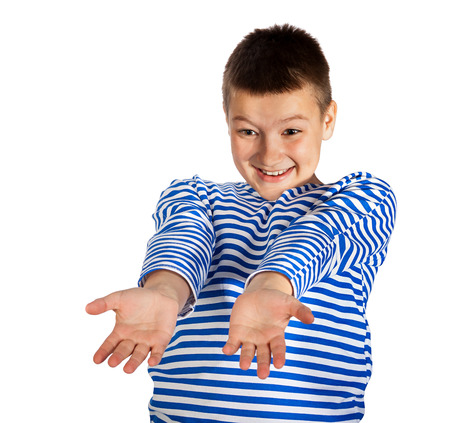 ��beautiful boy�: the beautiful boy the teenager isolated on a white background Stock Photo