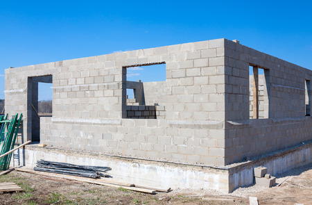 rural development: building of the country house from a stone