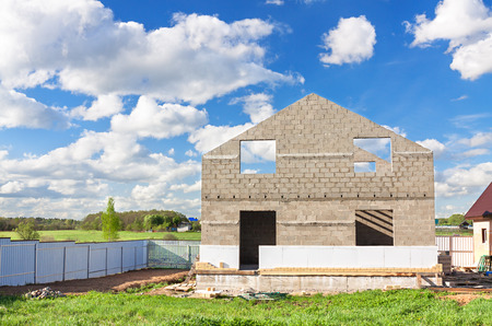 the house construction from blocks and bricks photo