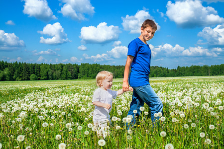 non moving activity: two brothers, small child and teenager  plays on a summer meadow  Stock Photo