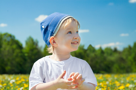 small child the boy plays on a green meadow with dandelions photo
