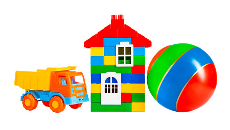 multi colored toys isolated on a white  photo