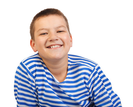 the beautiful boy the teenager smiles isolated on a white background photo