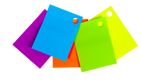 multi colored memo stickers on a white isolated background photo