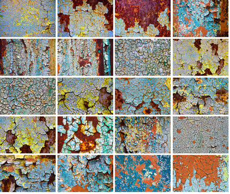 set old abstract backgrounds from the cracked paint on rusty iron photo