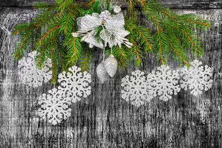 holiday  New Years and Christmas background from branches  fir  decoration toys photo