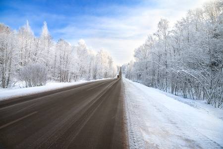 clear day in winter time: winter road highway traffic Stock Photo