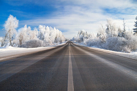 clear day in winter time: the winter rural  landscape with the road the forest and the blue sky Stock Photo
