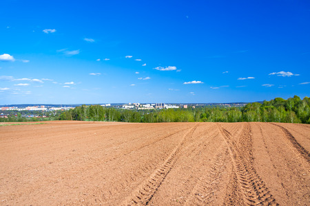 arable land: The agricultural arable land field in the spring for crops