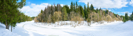 beautiful panorama spring landscape with the river and the forest photo