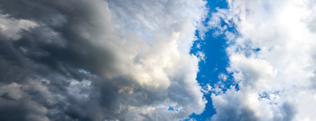 the panorama of the storm sky with clouds
