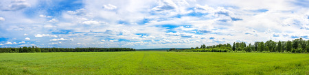 summer rural landscape a panorama with a field and the blue sky. agriculture 版權商用圖片