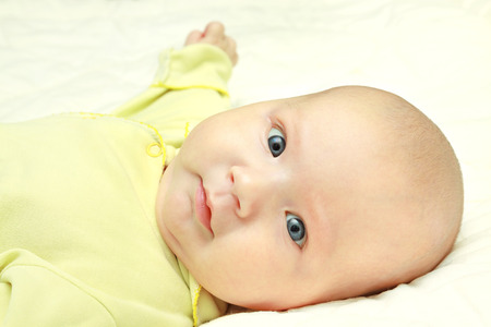 attentively: the little baby looking attentively