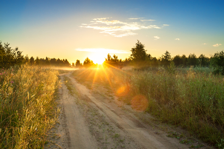summer rural landscape with  blue sky, fog and the road.  sunrise Stock Photo
