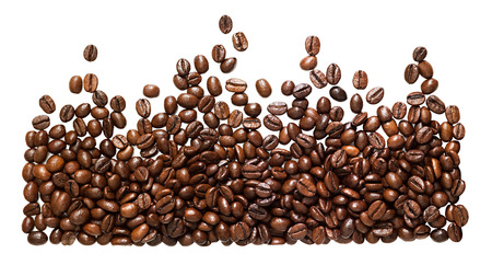 panorama  beans coffee isolated on a white background. panoramic view. roasting  grains coffee  close up