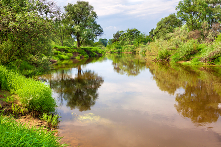 spring rural landscape with river, forest. reflection in river Stock Photo