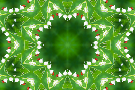 abstract background of floral pattern of a kaleidoscope. red green background fractal mandala. geometrical ornament flower pattern. ladybug on wildflower lily of the valley. red ladybird