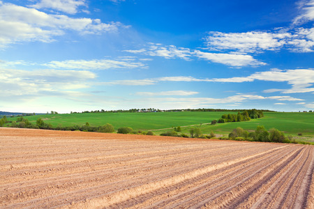 spring of landscape with ploughed field and blue sky with white clouds. agriculture farmland